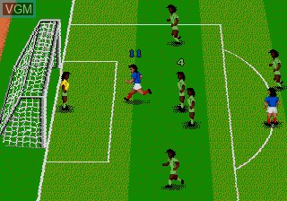In-game screen of the game World Championship Soccer II on Sega Megadrive