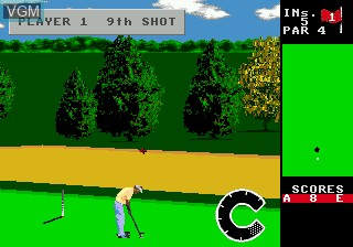 In-game screen of the game World Class Leaderboard Golf on Sega Megadrive