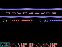 Title screen of the game Arcazion on Memotech MTX 512