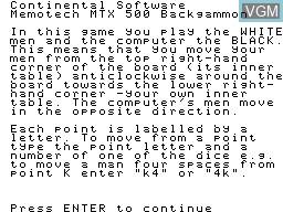 Menu screen of the game Backgammon on Memotech MTX 512