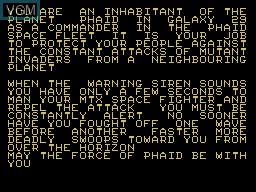 Menu screen of the game Phaid on Memotech MTX 512