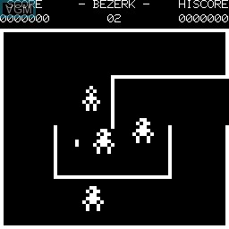 In-game screen of the game Berzerk on Tangerine Computer Systems Microtan 65