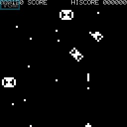 In-game screen of the game Moon Cresta on Tangerine Computer Systems Microtan 65