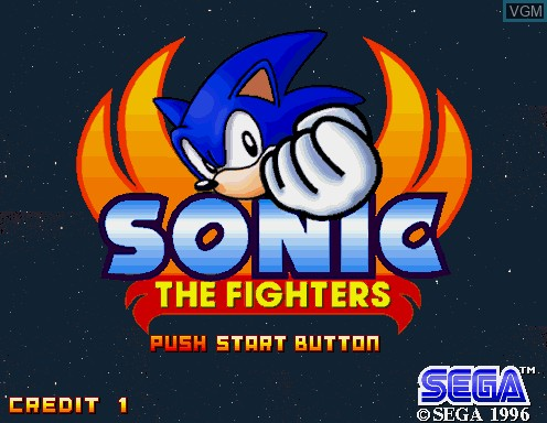Title screen of the game Sonic The Fighters on Model 2