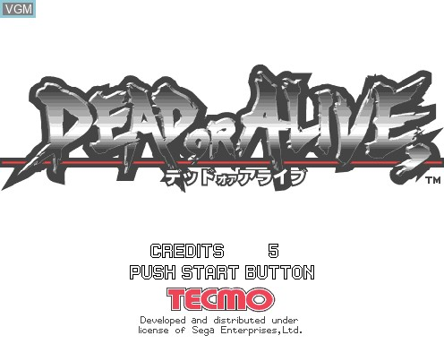 Title screen of the game Dead or Alive on Model 2