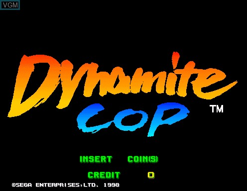 Title screen of the game Dynamite Cop on Model 2