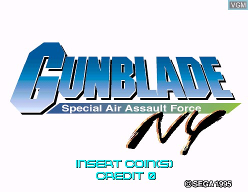 Title screen of the game Gunblade NY - Special Air Assault Force on Model 2