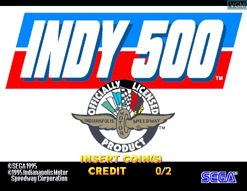 Title screen of the game Indianapolis 500 on Model 2
