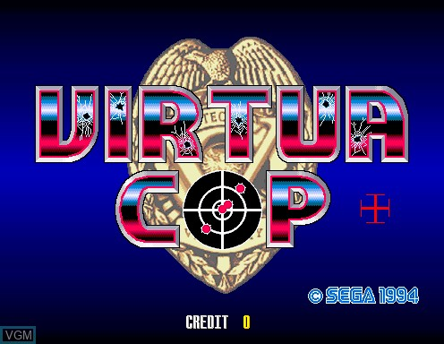 Title screen of the game Virtua Cop on Model 2