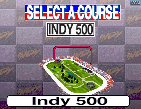 Menu screen of the game Indianapolis 500 on Model 2