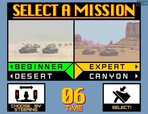 Menu screen of the game Desert Tank on Model 2