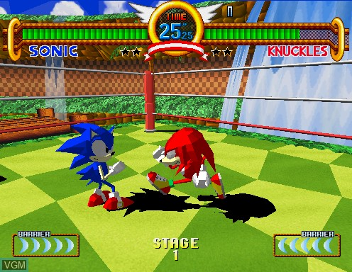 In-game screen of the game Sonic The Fighters on Model 2