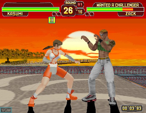 In-game screen of the game Dead or Alive on Model 2