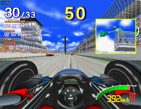 In-game screen of the game Indianapolis 500 on Model 2