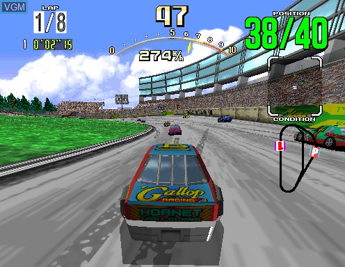 In-game screen of the game Daytona USA on Model 2