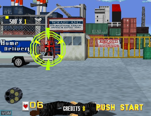In-game screen of the game Virtua Cop on Model 2