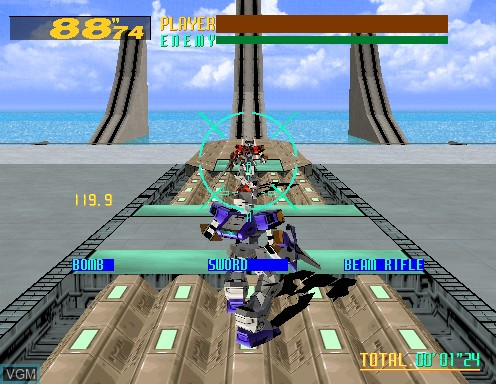 In-game screen of the game Virtual-On Cyber Troopers on Model 2