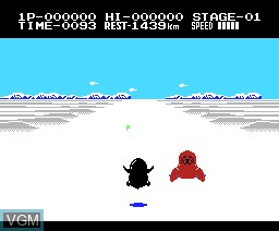 In-game screen of the game Antartic Adventure on MSX