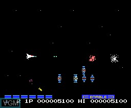 In-game screen of the game Nemesis 2 - Gradius 2 on MSX