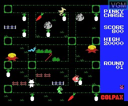 In-game screen of the game Pinky Chase on MSX
