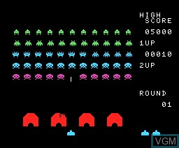 In-game screen of the game Space Invaders on MSX