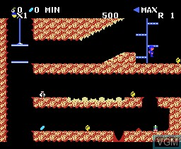 In-game screen of the game Spelunker on MSX