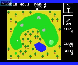 In-game screen of the game Super Golf on MSX