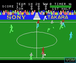 In-game screen of the game Super Soccer on MSX