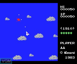 In-game screen of the game Time Pilot on MSX