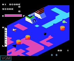 In-game screen of the game Zaxxon on MSX