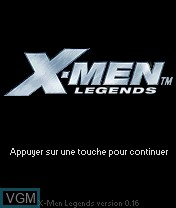 Title screen of the game X-Men Legends on Nokia N-Gage