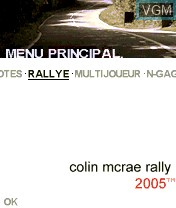 Title screen of the game Colin McRae Rally 2005 on Nokia N-Gage