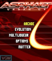 Menu screen of the game Asphalt - Urban GT on Nokia N-Gage