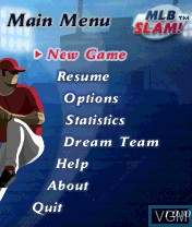 Menu screen of the game MLB Slam! on Nokia N-Gage