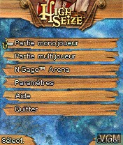 Menu screen of the game High Seize on Nokia N-Gage