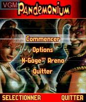 Menu screen of the game Pandemonium! on Nokia N-Gage