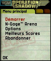 Menu screen of the game Operation Shadow on Nokia N-Gage