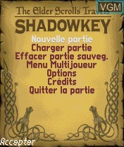 Menu screen of the game Elder Scrolls Travels, The - Shadowkey on Nokia N-Gage