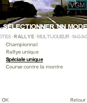 Menu screen of the game Colin McRae Rally 2005 on Nokia N-Gage