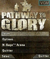Menu screen of the game Pathway to Glory on Nokia N-Gage