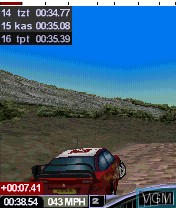 In-game screen of the game Colin McRae Rally 2005 on Nokia N-Gage