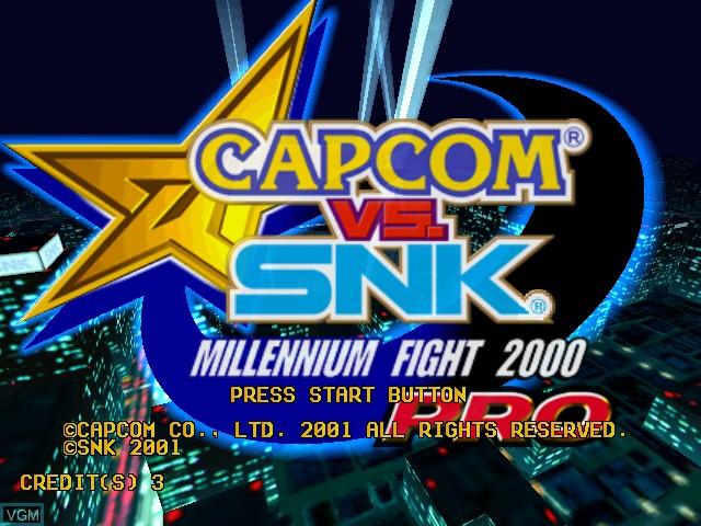 Title screen of the game Capcom Vs. SNK - Millennium Fight 2000 Pro on Naomi