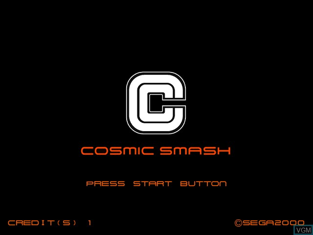 Title screen of the game Cosmic Smash on Naomi