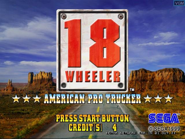 Title screen of the game 18 Wheeler on Naomi