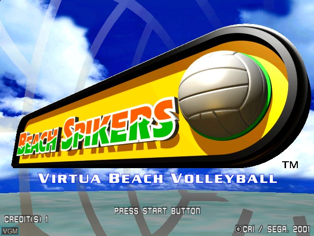 Title screen of the game Beach Spikers on Naomi