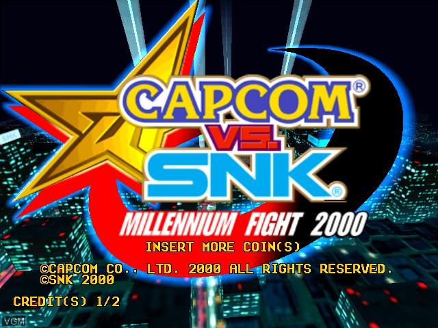 Title screen of the game Capcom Vs. SNK - Millennium Fight 2000 on Naomi