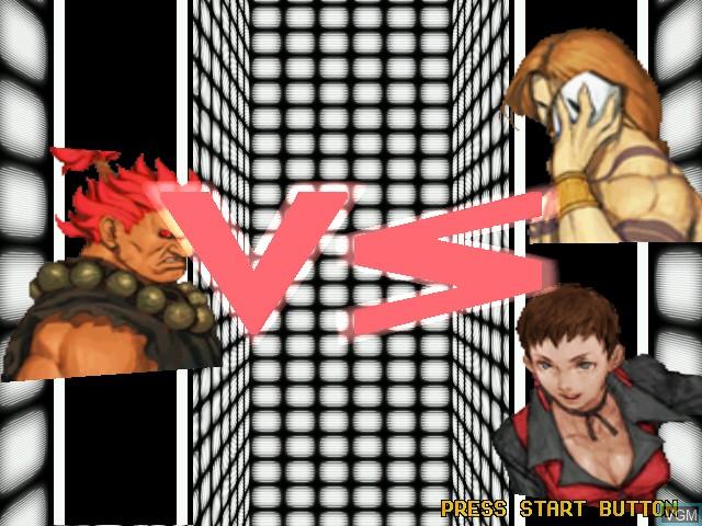 Menu screen of the game Capcom Vs. SNK - Millennium Fight 2000 Pro on Naomi