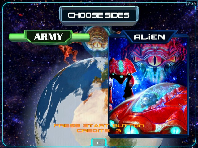 Menu screen of the game Alien Front on Naomi