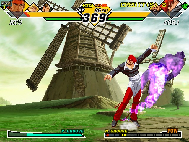 In-game screen of the game Capcom Vs. SNK 2 - Millionaire Fighting 2001 on Naomi