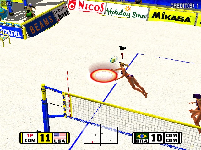 In-game screen of the game Beach Spikers on Naomi